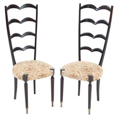 Pair of Mid-Century Modern High Back Side Chairs Attributed to Paolo Buffa