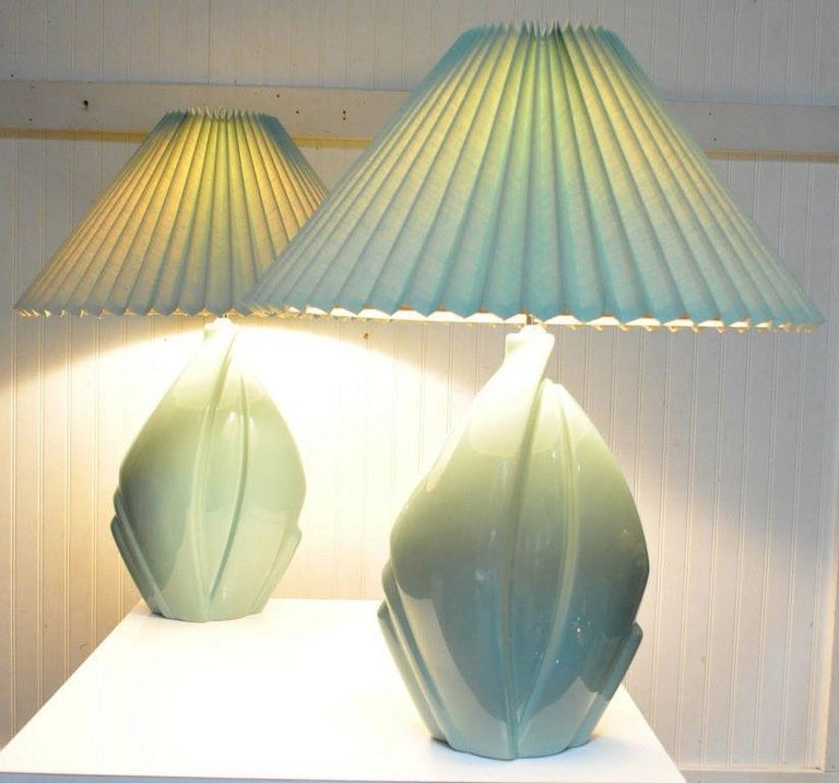 Late 20th Century Pair of Mid-Century Modern Hollywood Regency Ceramic Art Pottery Harris Lamps