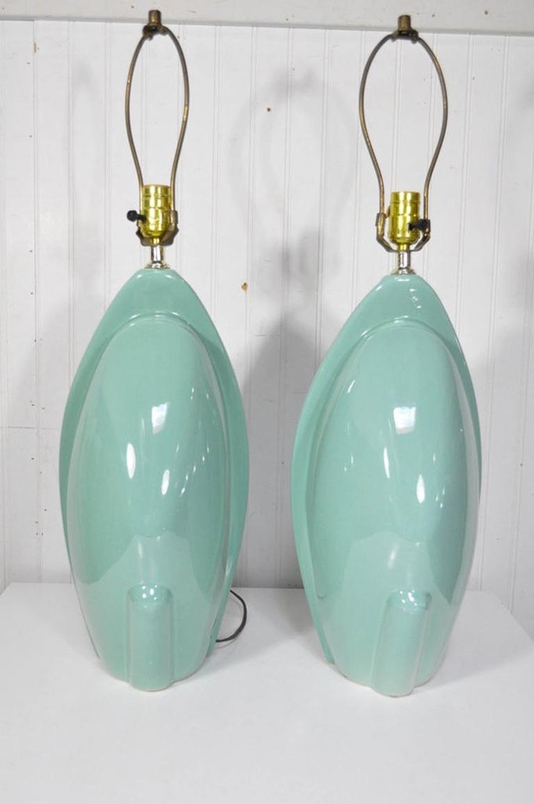 Pair of Mid-Century Modern Hollywood Regency Ceramic Art Pottery Harris Lamps 2
