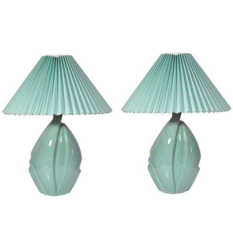 Pair of Mid-Century Modern Hollywood Regency Ceramic Art Pottery Harris Lamps