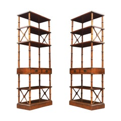 Pair of Mid-Century Modern Hollywood Regency Faux Bamboo Étagères or Wall Units
