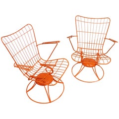 Pair of Mid-Century Modern Homecrest Bottemiller Swivel Rocker Lounge Chairs