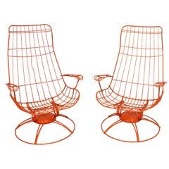 Pair of Mid-Century Modern Homecrest Riviera Siesta Swivel Rocker Lounge Chairs
