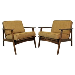 Pair of Mid-Century Modern Honey Wheat Walnut Lounge Chairs
