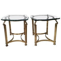 Pair of Mid-Century Modern Italian Brass and Glass Side Tables