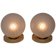 Pair of Mid-Century Modern Italian Brass and Murano Glass Ball Table Lamps, 70s