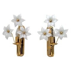 Pair of Mid-Century Modern Italian Brass and Murano Glass Flowers Sconces, 1975s