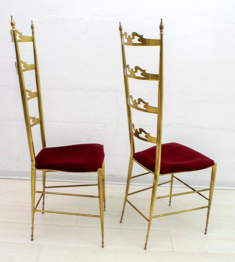 Pair of Mid-Century Modern Italian Brass High Back Chiavari Chairs, 1950s In Good Condition For Sale In Cerignola, Italy Puglia
