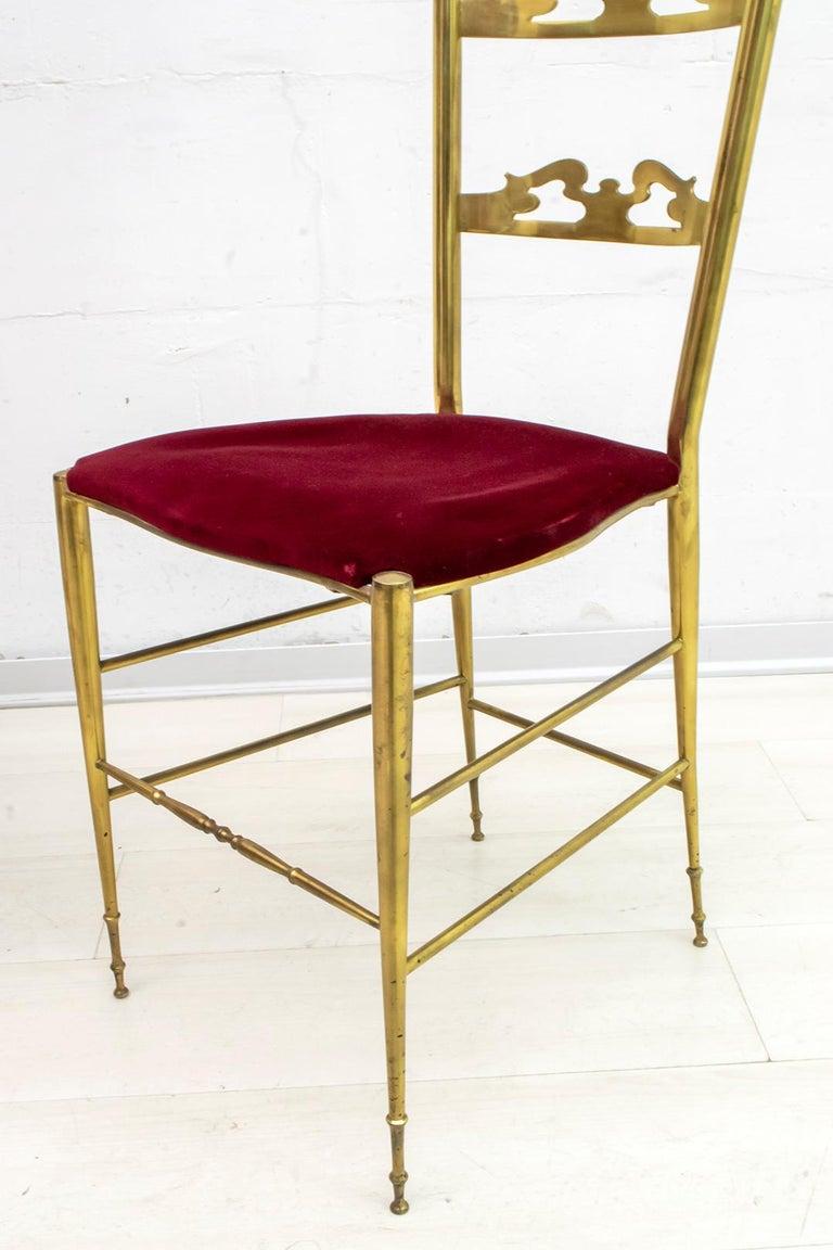 Pair of Mid-Century Modern Italian Brass High Back Chiavari Chairs, 1950s For Sale 2