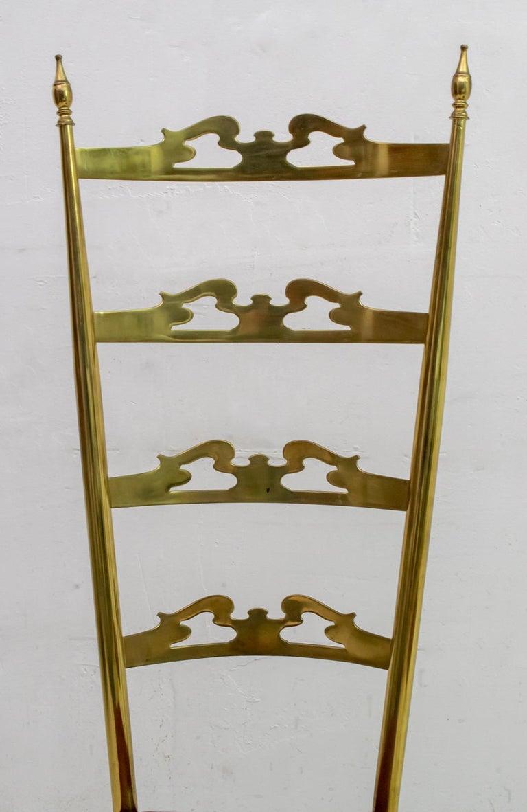 Pair of Mid-Century Modern Italian Brass High Back Chiavari Chairs, 1950s For Sale 3