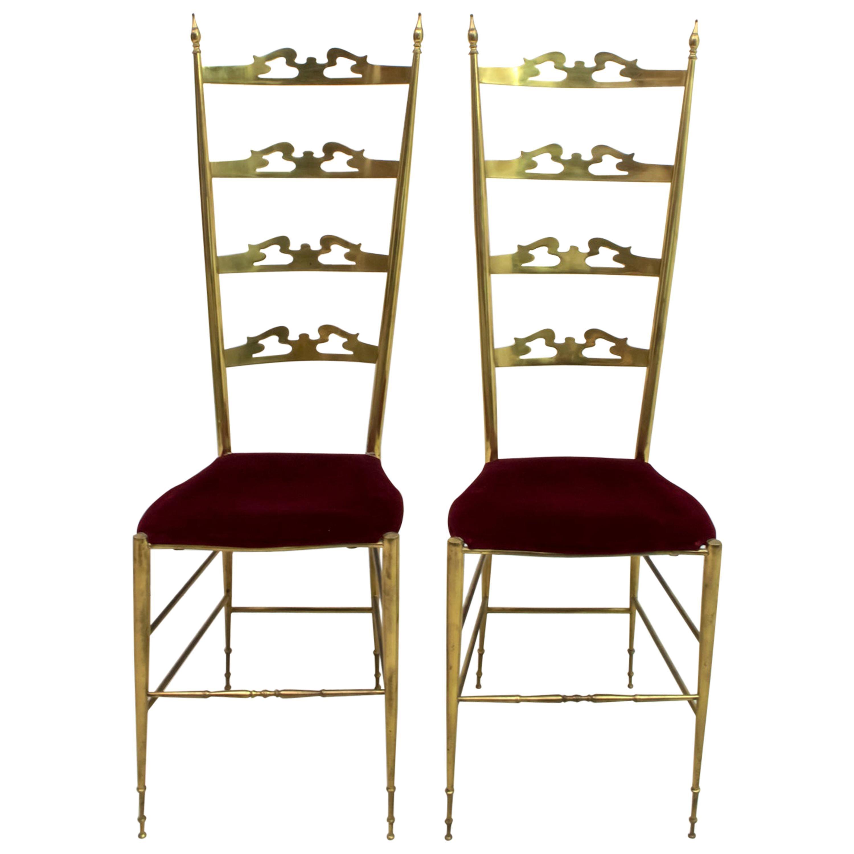 Pair of Mid-Century Modern Italian Brass High Back Chiavari Chairs, 1950s