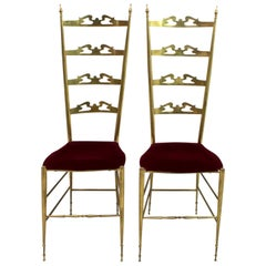 Pair of Mid-Century Modern Italian Brass High Back Chiavari Chairs, 1950s