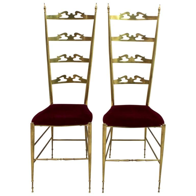 Pair of Mid-Century Modern Italian Brass High Back Chiavari Chairs, 1950s For Sale