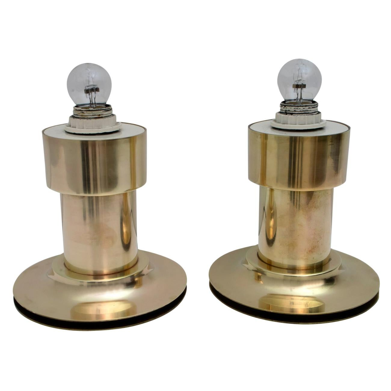 Pair of Mid-Century Modern Italian Brass Table Lamps, 1960s