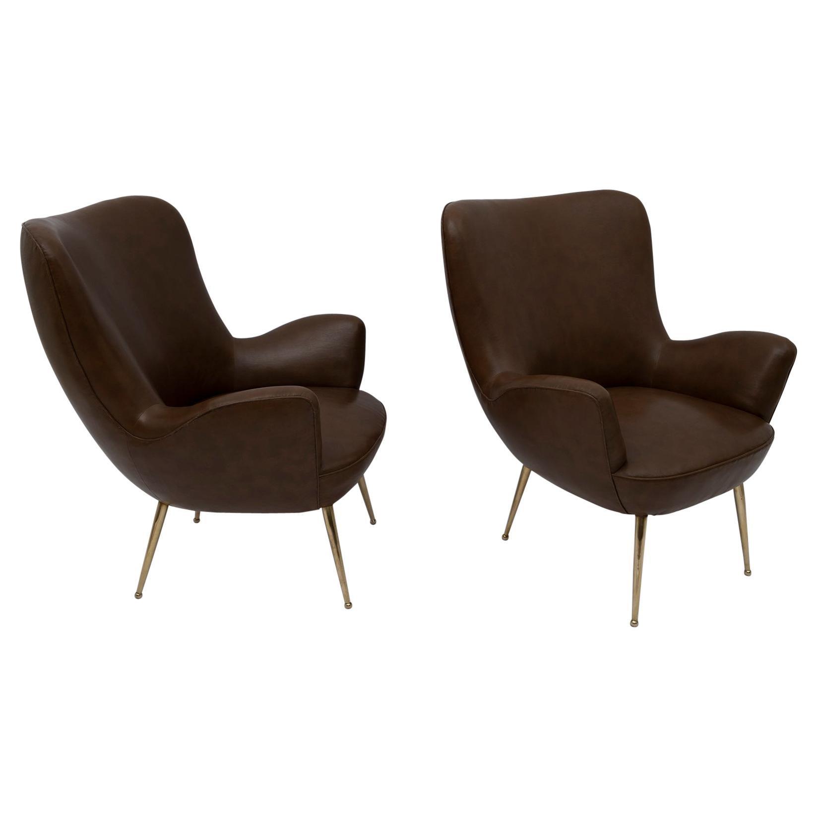 Pair of Mid-century Modern Italian Design Armchairs, 1950s