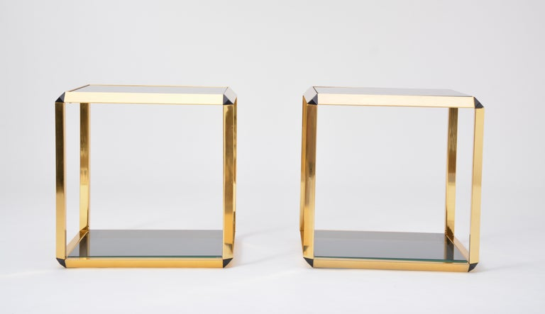 Gilt Pair of Mid-Century Modern Italian Gold-Rimmed Metal and Glass Side Tables For Sale