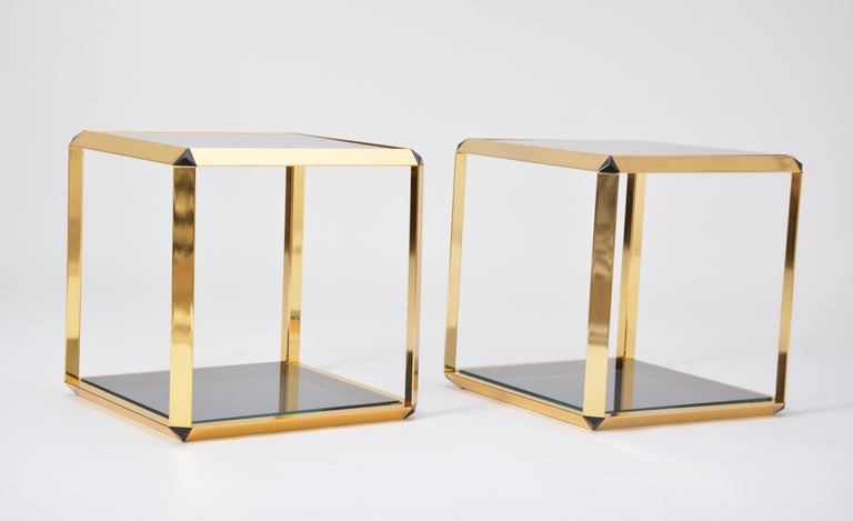 Late 20th Century Pair of Mid-Century Modern Italian Gold-Rimmed Metal and Glass Side Tables For Sale