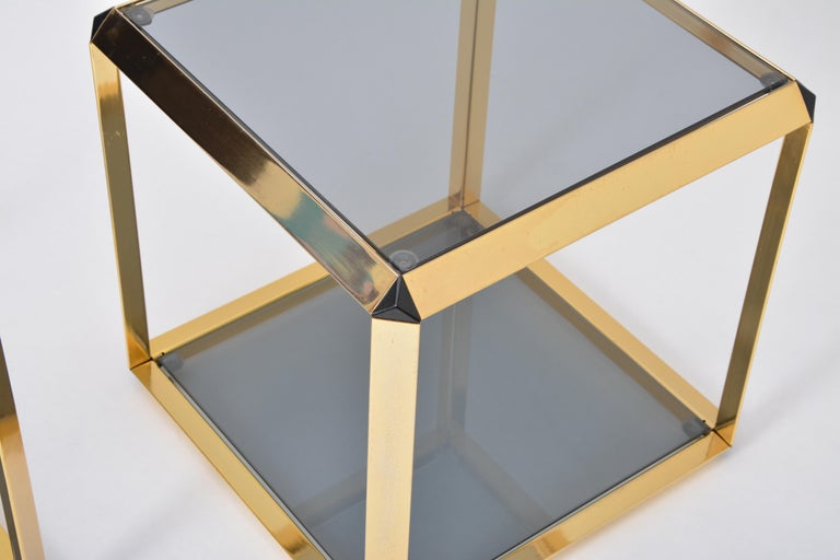 Steel Pair of Mid-Century Modern Italian Gold-Rimmed Metal and Glass Side Tables For Sale