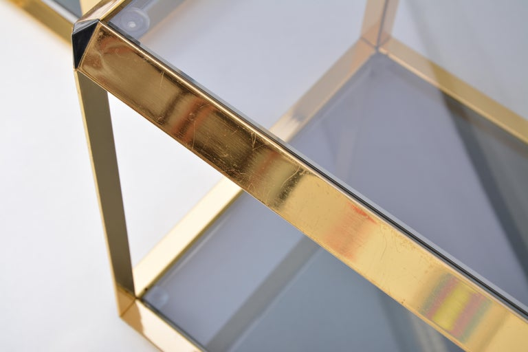 Pair of Mid-Century Modern Italian Gold-Rimmed Metal and Glass Side Tables For Sale 1