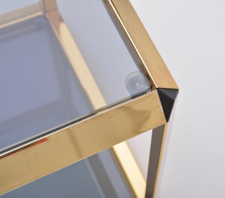 Pair of Mid-Century Modern Italian Gold-Rimmed Metal and Glass Side Tables For Sale 2