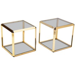 Pair of Mid-Century Modern Italian Gold-Rimmed Metal and Glass Side Tables