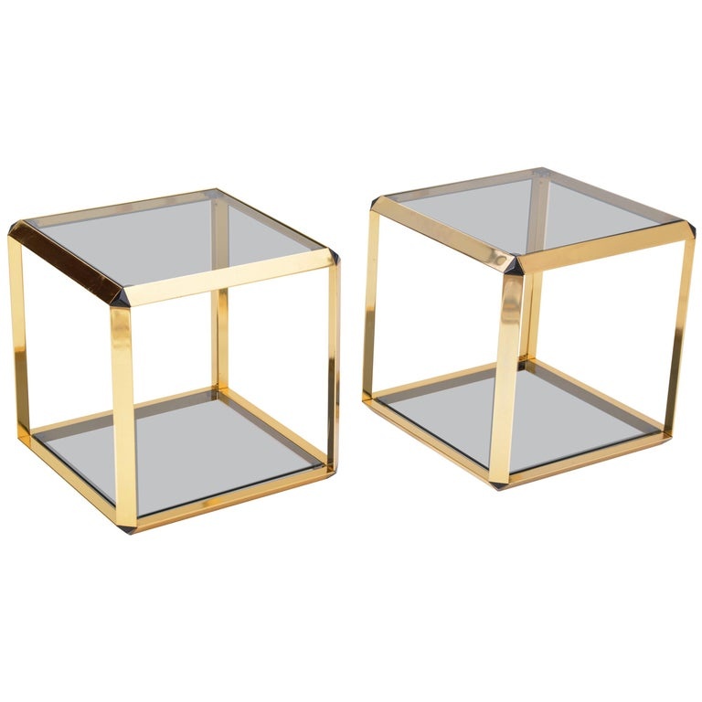 Pair of Mid-Century Modern Italian Gold-Rimmed Metal and Glass Side Tables For Sale