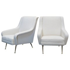 Pair of Mid-Century Modern Italian Lounge Chairs, circa 1950s