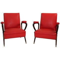 Pair of Mid-Century Modern Italian Mahogany Chairs in the Manner of Ico Parisi