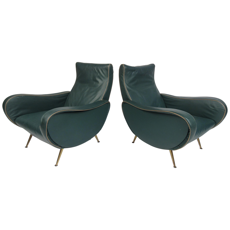 Pair of Mid-Century Modern Italian Marco Zanuso Style Lounge Chairs