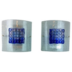 Pair of Mid-Century Modern Italian, Mazzega Murano Blue & Frosted Glass Sconces