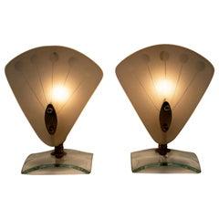 Pair of Mid-Century Modern Italian Murano Bedside Lamps, 1950s