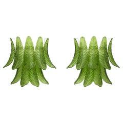 Pair of Mid-Century Modern Italian Murano Glass Palm Leaf Sconces, 1970s