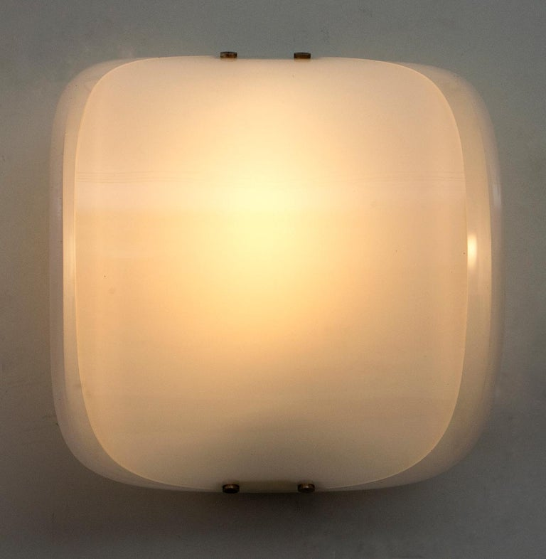 Mid-20th Century Pair of Mid-Century Modern Italian Perspex Sconces, 1960s For Sale