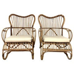 Pair of Mid-Century Modern Italian Rattan and Wicker Chairs