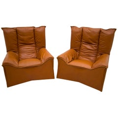 Pair of Mid-Century Modern Italian Real Leather Armchairs by Cinova, 1964s