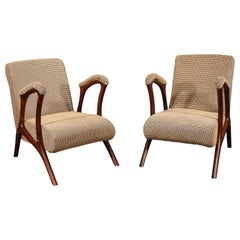Pair of Mid-Century Modern Italian Rosewood Lounge Club Chairs, circa 1950s