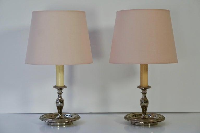 Pair of Mid-Century Modern Italian Silver Plated ...