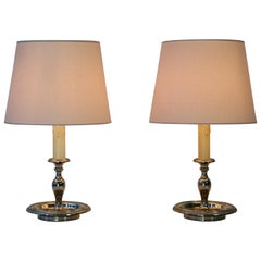 Pair of Mid-Century Modern Italian Silver Plated Candlestick Table Lamps