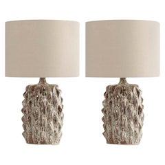 Pair of Mid-Century Modern Italian Style Green Glazed Ceramic Table Lamps