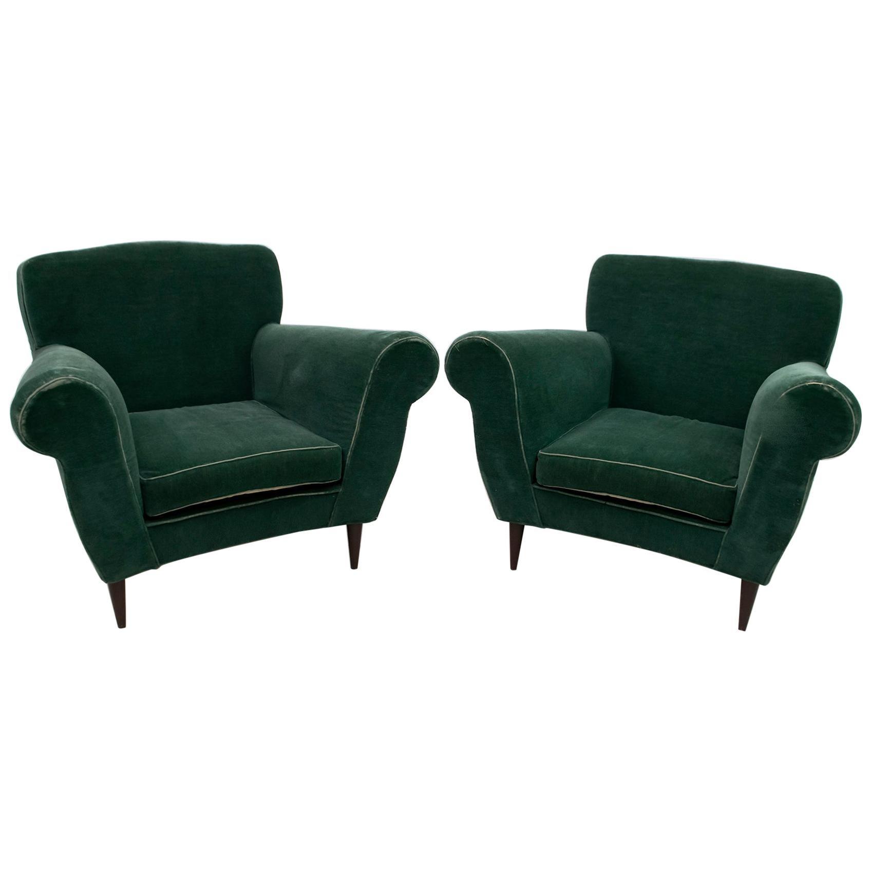 Pair of Mid-Century Modern Italian Velvet Armchairs, 1950s