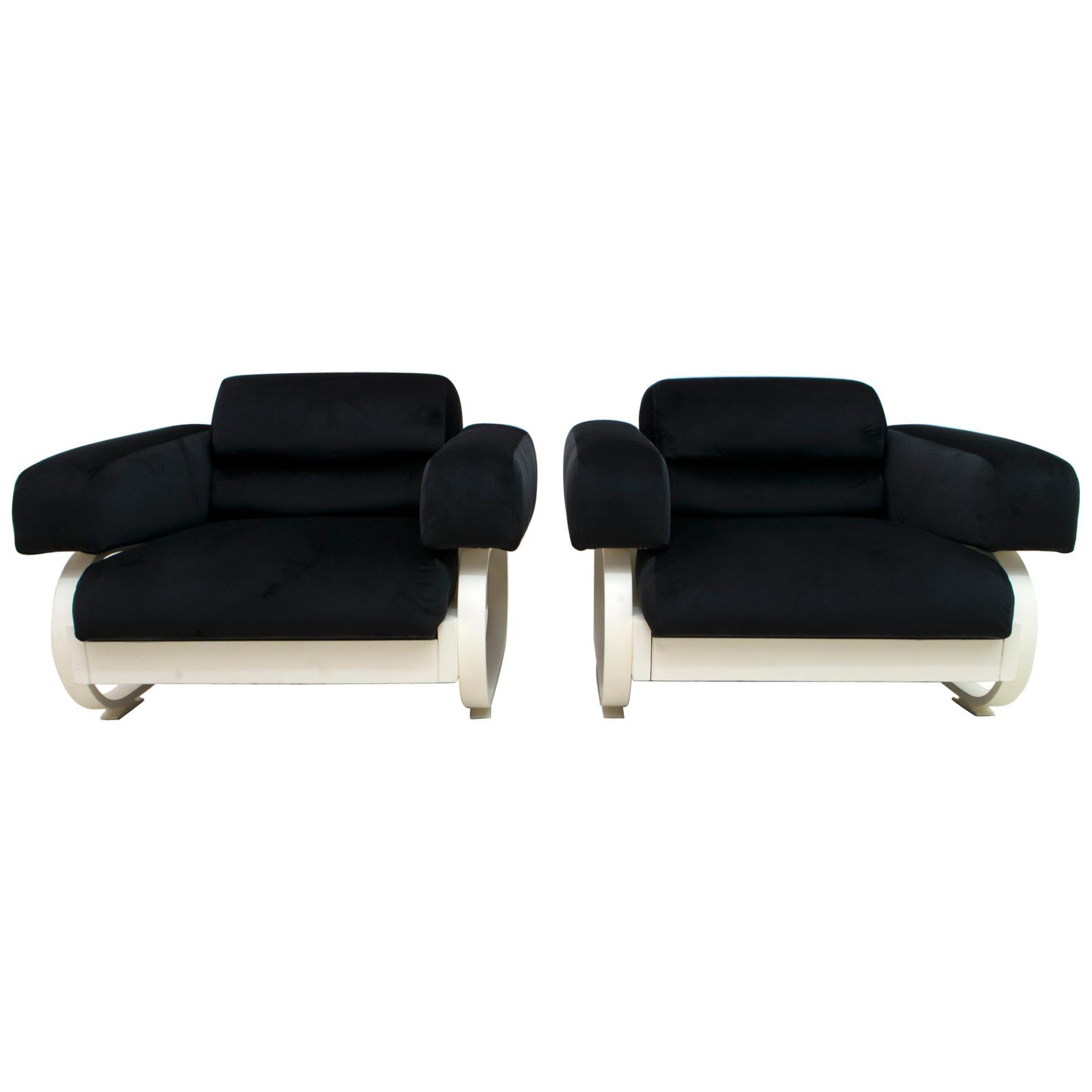 Pair of Mid-Century Modern Italian Velvet Armchairs, 1960s
