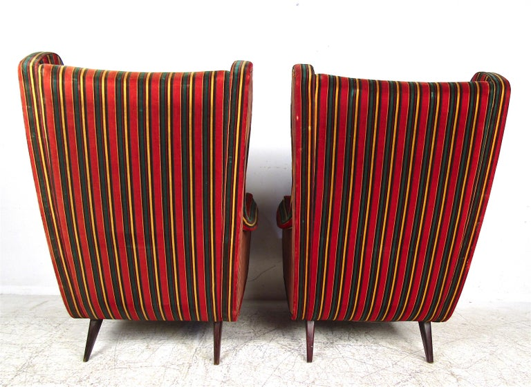 Upholstery Pair of Mid-Century Modern Italian Wingback Lounge Chairs For Sale
