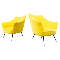 Pair of Mid-Century Modern Italian Yellow Fabric Armchairs, 1960s