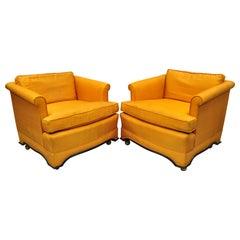 Pair of Mid-Century Modern James Mont Dunbar Style Oriental Club Lounge Chairs
