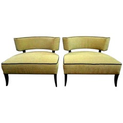 Pair of Mid-Century Modern James Mont Style Lounge Chairs