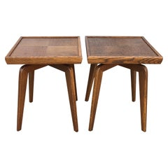 Pair of Mid-Century Modern French Red Oak Side Tables Attributed to Jean Prouve