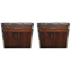 Pair of Mid-Century Modern John Stuart Lacquered and Walnut Nightstands