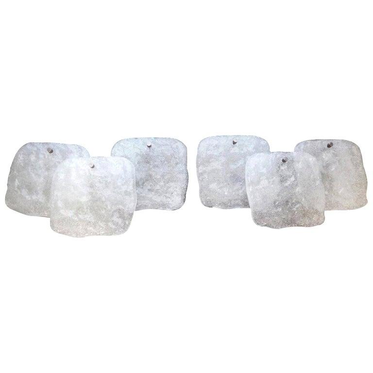 Pair of Mid-Century Modern Kalmar Glass Sconces For Sale