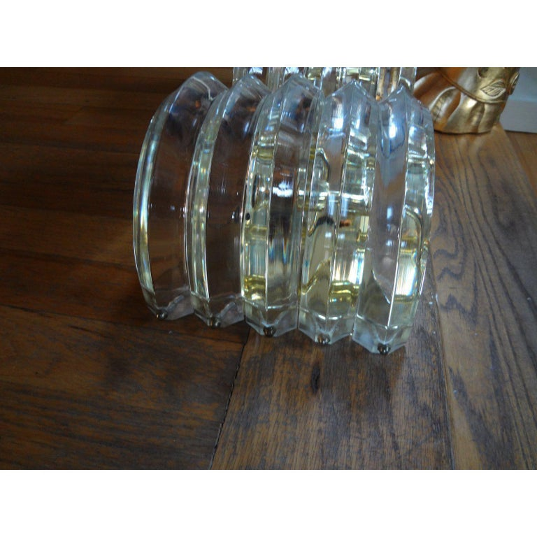 Mid-20th Century Pair of Mid-Century Modern Karl Springer Style Lucite and Brass Sconces For Sale