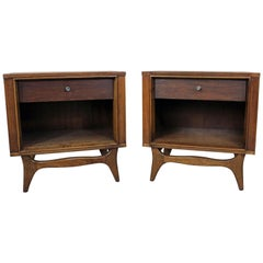 Pair of Mid-Century Modern Kent Coffey Insignia Walnut Nightstands